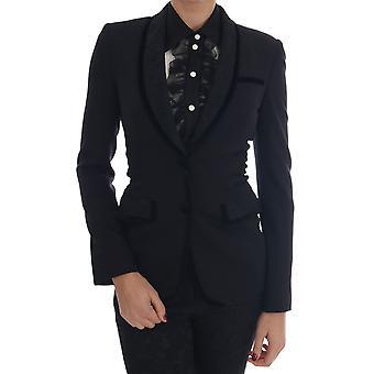 Dolce & Gabbana Black Floral Brocade Blazer Jacket