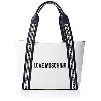 الحب موسكينو Jc4058pp1a حقيبة حمل المرأة السوداء (أبيض أسود) 13x26x40 سم (W x H x L)