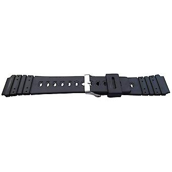 Black resin watch strap 20mm (25mm overall width) stainless steel buckle