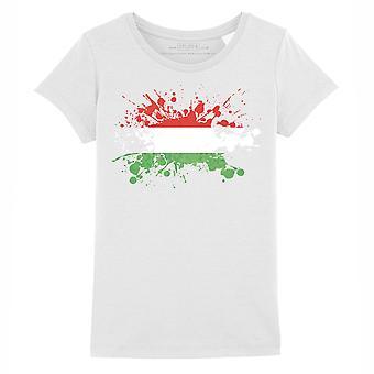 STUFF4 Mädchen's Rundhals T-Shirt/Ungarn/Ungarische Flagge Splat/Weiß
