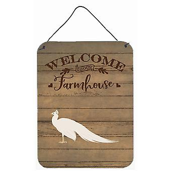 White Peacock Peafowl Welcome Wall or Door Hanging Prints