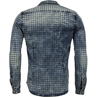 Denim shirt-Slim Fit long sleeves Men-window motif-Blue