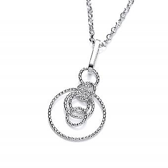 David Deyong Sterling Silver Diamond Cut Interlocking Circles Necklace