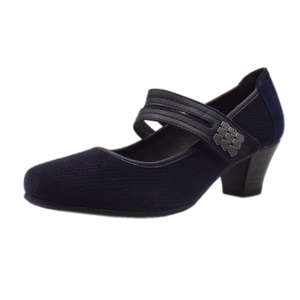 JAN 24331 Belmont Wide Fit Smart-casual Mary-jane Shoes In Navy Suede rjqmw