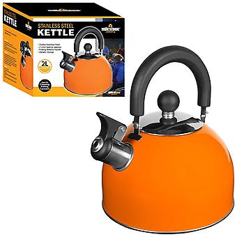 Milestone Stainless Steel Whistling Camping Kettle Metallic Orange 2L