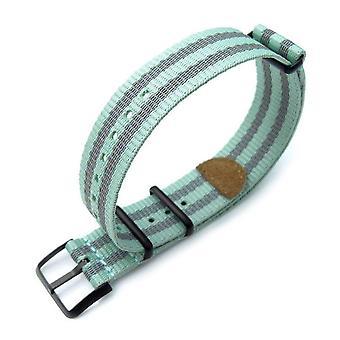 Strapcode n.a.t.o watch strap miltat 20mm g10 nato 3m glow-in-the-dark watch strap, pvd black - pastel green & grey stripes