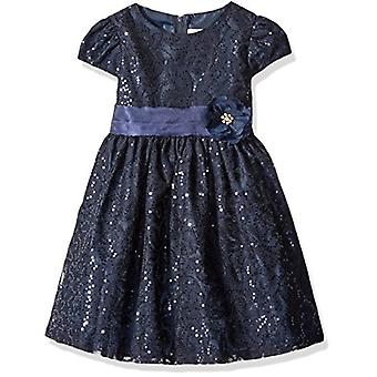 Rare Editions Girls' Little Navy Lace Dress, 5