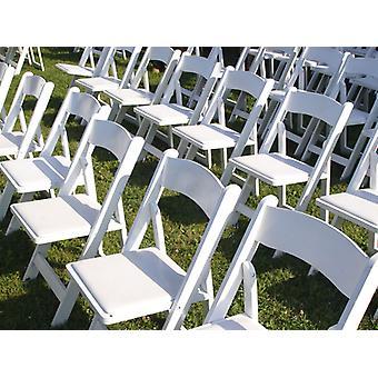 Chaise pliante rembourrée 45x45x80cm, blanche, 4 pièces