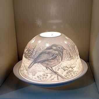 Nordic Lights Stencil Robin Tealight Candle Shade & Tray