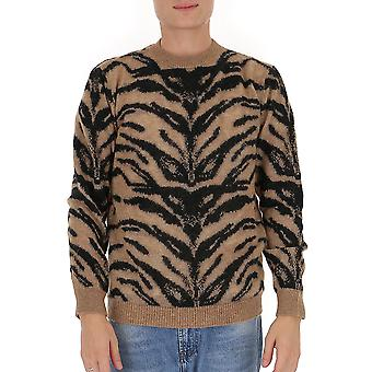 Laneus Mgu1019cc7var2 Men's Leopard Wool Sweater