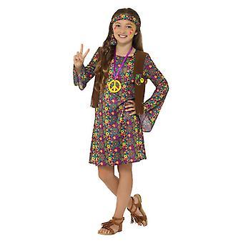 Dievčatá groovy hippie dievča maškarný kostým