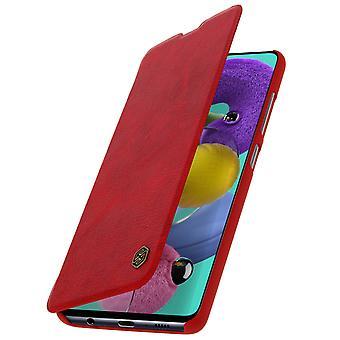 Capa de protecçao Galaxy A51 Porta-cartoes couro autentico Vermelho