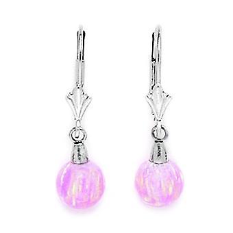 14k oro blanco rosa 8x8mm simulado opal bola drop leverback pendientes medidas 27x8mm regalos de joyería para las mujeres