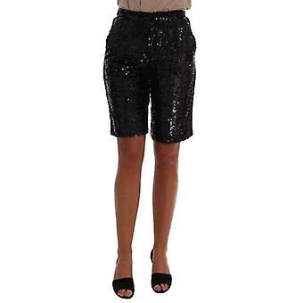 Dolce & Gabbana Black Sequined Fashion Shorts -- BYX1532080