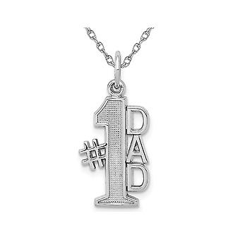 14K White Gold  #1 DAD Charm Pendant Necklace with Chain