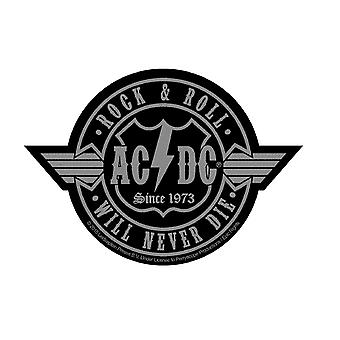 AC/DC Patch Rock N Roll Will Never Die Logo Official New Black Woven Cut Out