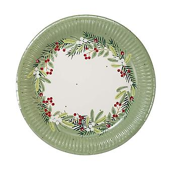Botanical Berry Christmas Paper Party Plate x 8