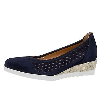 Gabor Evelyn Wide Fit Low Wedge Pumps In Navy Suede