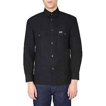 Kenzo Fa55ch7631lf99 Men's Camisa de Algodão Preto