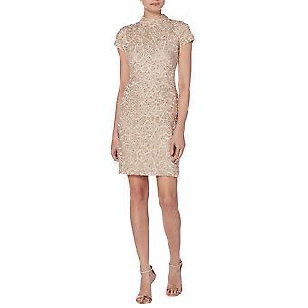Blush high neck geometric dress