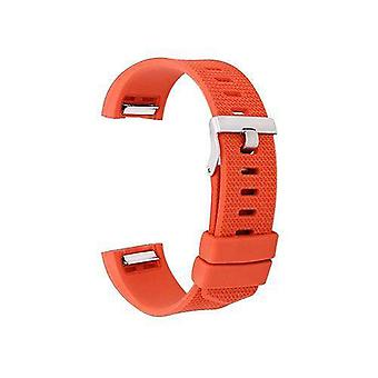 Watch strap for fitbit charge orange silicone rubber sizes small and large