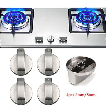 4 PCS 6mm/8mm Metal Silver Gas Stove Cooker Knobs Adaptors Oven Switch Cooking Surface Control Locks