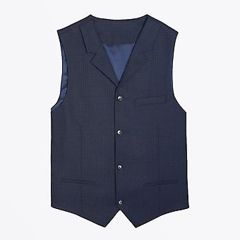 Thomas Maine  - Wool Check Waistcoat - Navy