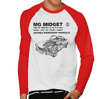 Haynes proprietários Workshop Manual 0265 MG Midget 948 de 1275cc preto Baseball masculino t-shirt de mangas compridas