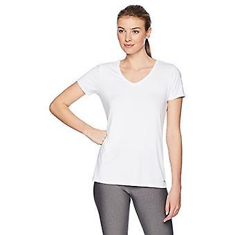 أساسيات المرأة 2 حزمة التكنولوجيا تمتد قصيرة الأكمام الخامس الرقبة تي شيرت، أسود / أبيض، X-الصغيرة