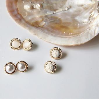 Round Marble Stone Earrings