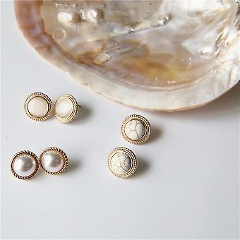 runde marmor stein øredobber