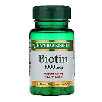 Nature's Bounty, Biotin, 1,000 mcg, 100 Coated Tablets