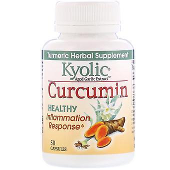 Kyolic, Extrait d'ail vieilli, Réponse inflammation, Curcumine, 50 Capsules