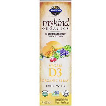 Garden of Life, MyKind Organics, Vegan D3 Organic Spray, Vanilla, 1,000 UI, 2 oz