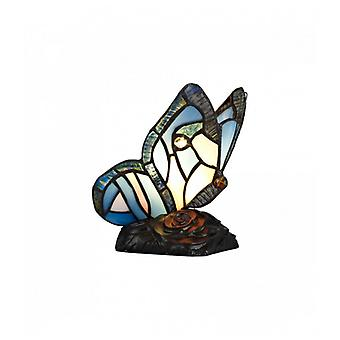 Colin Tiffany Butterfly Table Lamp, 1 X E14, Base Preta com Vidro Azul/Rosa com Cristal Claro