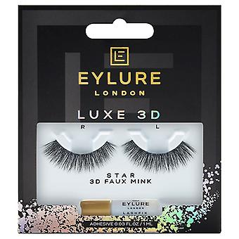 Eylure Luxe 3D Faux Mink Black Eyelashes - Star - Lash Adhesive Included