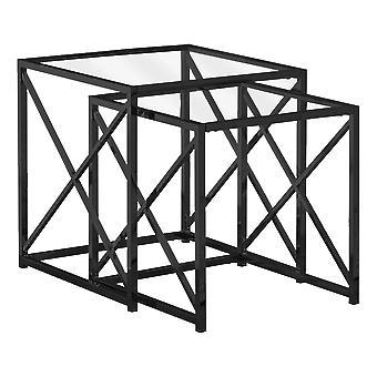 NESTING TABLE - 2PCS SET / BLACK NICKEL METAL / TEMPERED