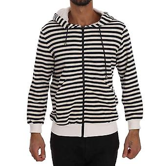 Daniele Alessandrini Blue White Striped Hooded Cotton Sweater