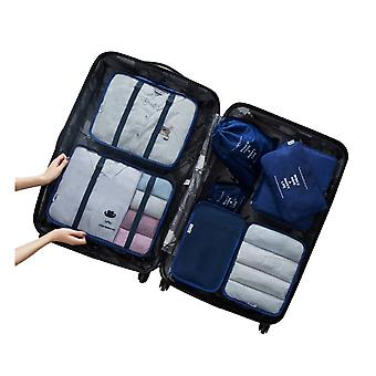 8PCS Cubes Travel Storage Luggage Organizer Navy Blue
