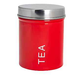 Contemporary Tea Canister - Steel Kitchen Storage Caddy with Rubber Seal - Red