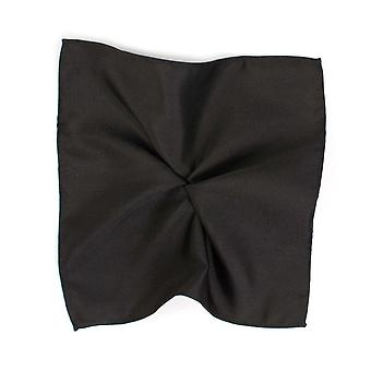 Legături Planet Plain Black Silk Pocket Square Batista De Tresanti