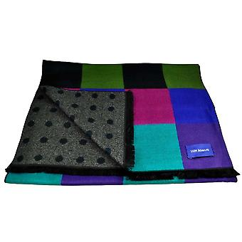 Ties Planet Lupi Romani Navy, Green, Purple, Royal Blue, Turquoise & Fuchsia Pink Checked & Grey & Navy Polka Dot Patterned Double Face Scarf