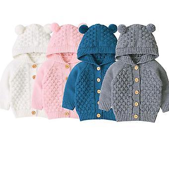 Vauvan villapaidat taapero neulottu asu vaatteet - Söpö hupullinen korva talvi lämmin