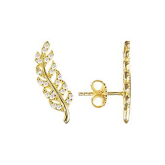 Leaf Ear Climber Stud Small CZ Gold Earrings White Gift 925 Sterling Silver