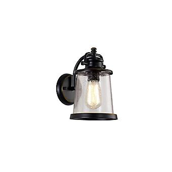 Charlotte Wall Lamp, 1 X E27, Black/gold With Seeded Clear Glass, Ip54, 2yrs Warranty