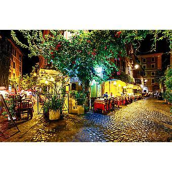 Seinämaalaus yönäkymä vanhalle kadulle Roomassa