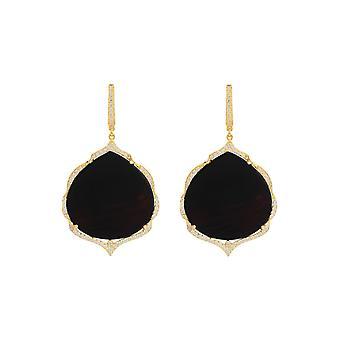 אנטואנט שחור גדול שוני אבן חן עגילי זהב