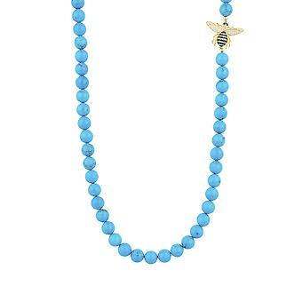 Long Blue Honey Bee Animal Natural Turquoise CZ Gemstone Gold Beaded Necklace