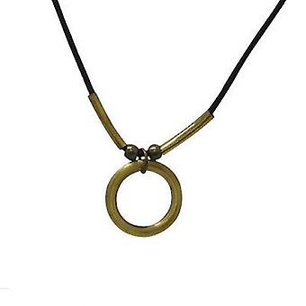 Brown leather necklace with brass medallion