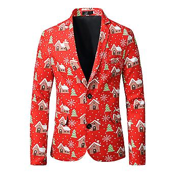 YANGFAN Christmas Printed Suit Jacket Single Breasted Two Buttons Party Blazer